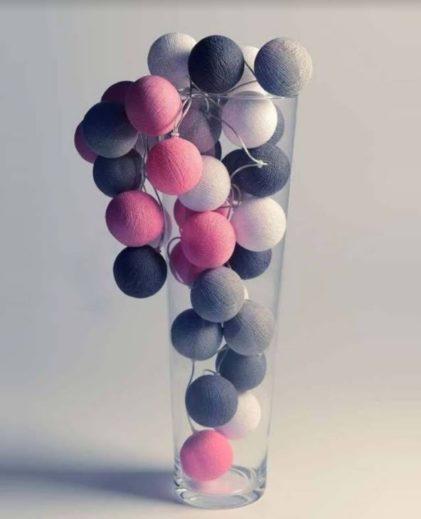 bombažne lučke roza sive