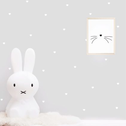 beli srčki stenske nalepke otroška sobica