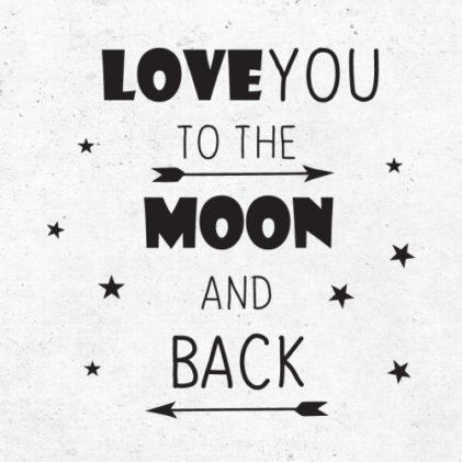 love you to the moon stenska nalepka črna