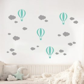 stenska nalepka baloni in oblakci mint-siva