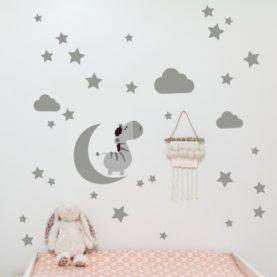 stenska nalepka luna in zvezdice siva
