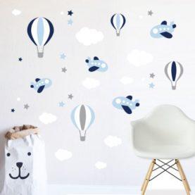 stenska nalepka oblački baloni in letala