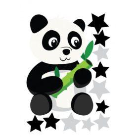 Stenske nalepke Panda z zvezdicami, črno-sive