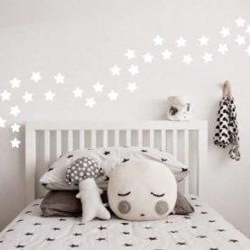 Stenske nalepke Bele zvezdice, 35 nalepk