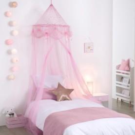 komarnik za posteljico roza