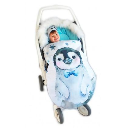 Spalna vreča za voziček Moder pingvinček