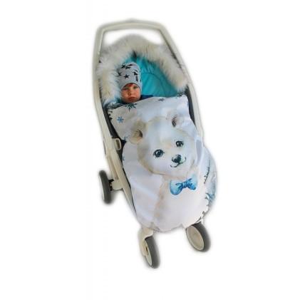Spalna vreča za voziček Moder medo