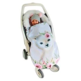 Spalna vreča za voziček Roza medo