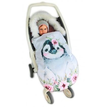 Spalna vreča za voziček Roza pingvinček