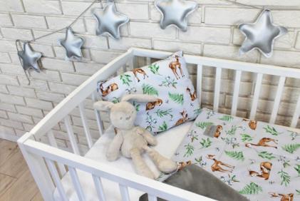 posteljnina za dojenčke lisičke siva