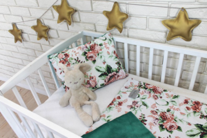 posteljnina zelene rozice