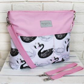 previjalna torba svetlo roza labodi